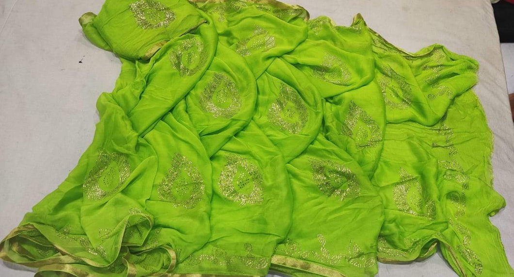 Pure Chiffon Saree Green With Panwari Work,Chiffon Sarees Udaipur,New Georgette Sarees In Facebook