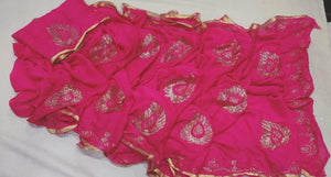 Pure Chiffon Saree Hotpink With Panwari Work,New Georgette Sarees In Facebook,Chiffon Fashion Jaipur