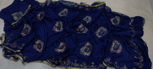 Pure Chiffon Saree Navyblue With Panwari Work,Chiffon Fashion Jaipur,Rajputi Besar Online Shopping
