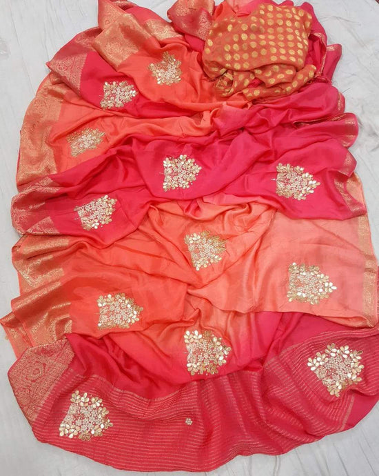 Pure Dola Silk Saree Shaded In Orange Pink, This Gorgeous Dola Silk Handwork Saree Comes With Silk Saree Comes With Traditional Border And Boota, Also Comes With Contrast Banarasi Boota Blouce.Shop Authentic Silk Sarees Online At Best Price With Free Shipping And Cod Services.