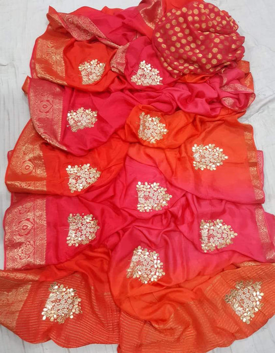 Pure Dola Silk Saree Shaded In Red Orange, This Gorgeous Dola Silk Handwork Saree Comes With Silk Saree Comes With Traditional Border And Boota, Also Comes With Contrast Banarasi Boota Blouce.Shop Authentic Silk Sarees Online At Best Price With Free Shipping And Cod Services.