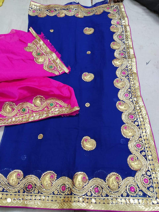 Pure Georgette Gota Patti Hand Work Saree In Blue,Gota Patti Saree