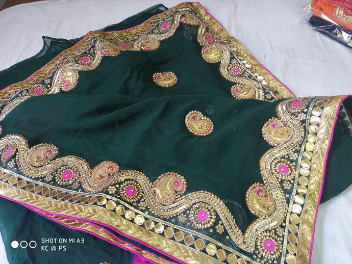 Pure Georgette Gota Patti Hand Work Saree In Bottlegreen,Jaipur Gota Sarees, Gota Patti Sarees