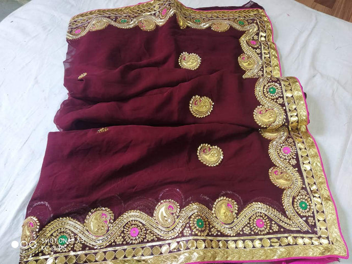 Pure Georgette Gota Patti Hand Work Saree In Brown,Traditional Gota Saree, Jaipuri Sarees