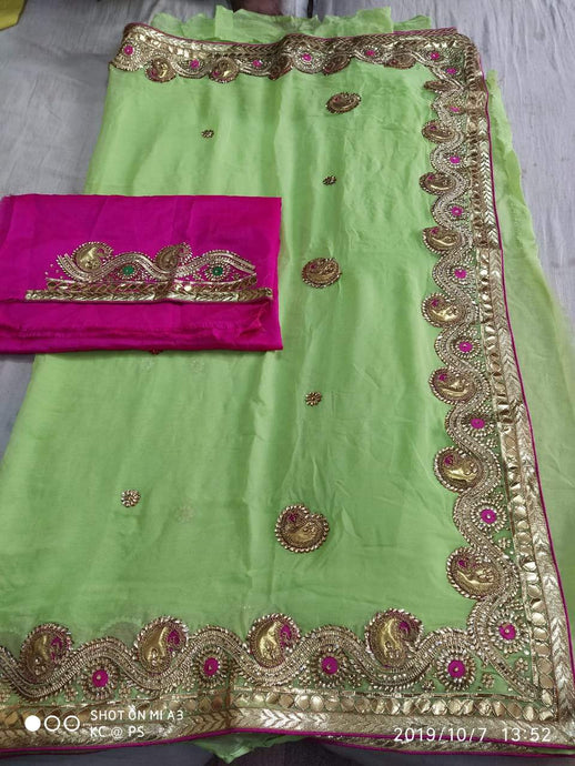 Pure Georgette Gota Patti Hand Work Saree In Green,Gota Patti Saree