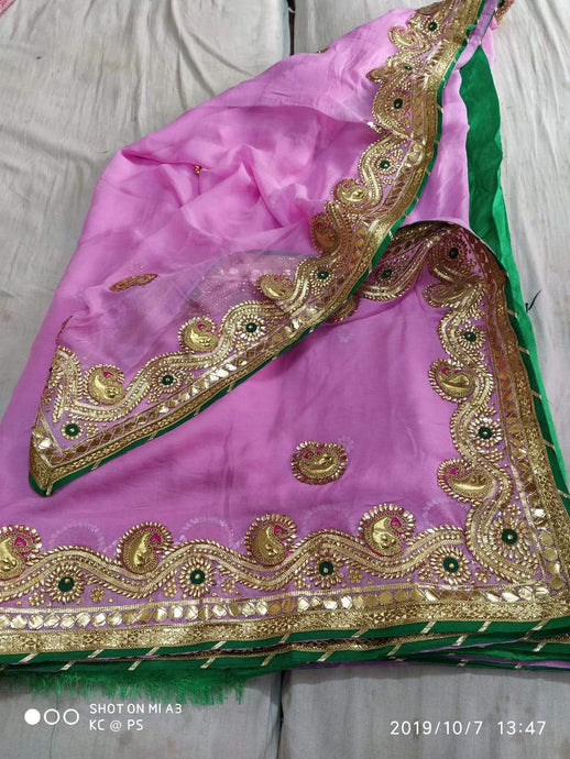 Pure Georgette Gota Patti Hand Work Saree In Lightpink,Traditional Gota Saree, Jaipuri Sarees