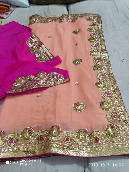 Pure Georgette Gota Patti Hand Work Saree In Peach,Jaipur Gota Sarees, Gota Patti Sarees