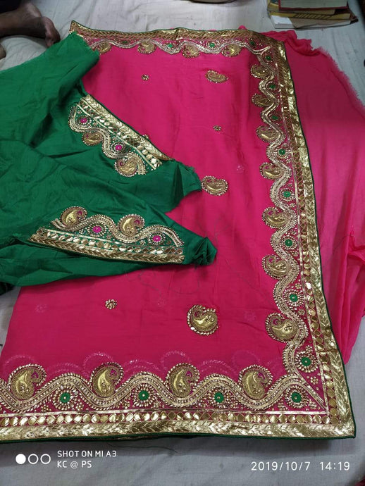 Pure Georgette Gota Patti Hand Work Saree In Pink,Traditional Gota Saree, Jaipuri Sarees