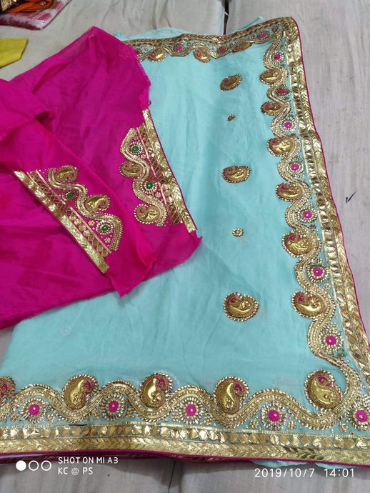 Pure Georgette Gota Patti Hand Work Saree In Skyblue,Traditional Gota Saree, Jaipuri Sarees