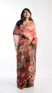 Pure Linen Digital Print Sarees In Lightbrown, Embroidered Linen Sarees Online,Digital Floral Print Sarees