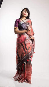 Pure Linen Floral Digital Print Sarees In Pastel Color, Embroidered Linen Sarees Online,Digital Floral Print Sarees