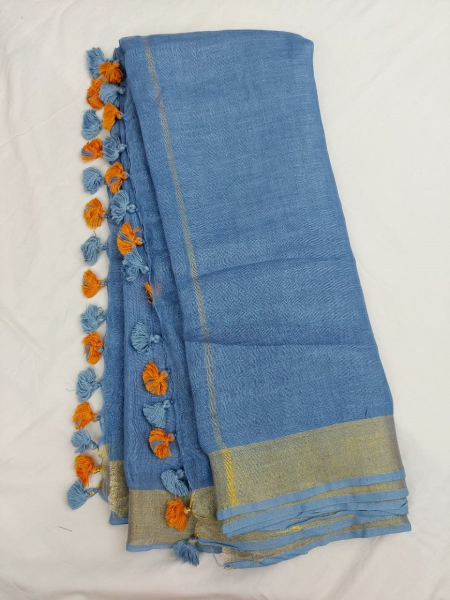 Pure Linen Saree sky Blue Color,Linen sarees online, pure line  saree, bengal linen saree.