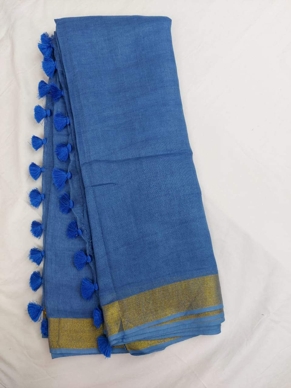 Pure Linen Saree Blue,Best rates of line sarees in india, wholesale linen sarees online