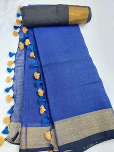 Pure Linen Saree Blue With Border,authentic linen saree, digital printed linen saree, line sarees online
