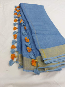 Pure Linen Saree Blue With Golden Border,floral linen sarees, line sarees online, digital printed linen sarees