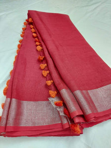Pure Linen Saree Carrot Color,Best rates of line sarees in india, wholesale linen sarees online