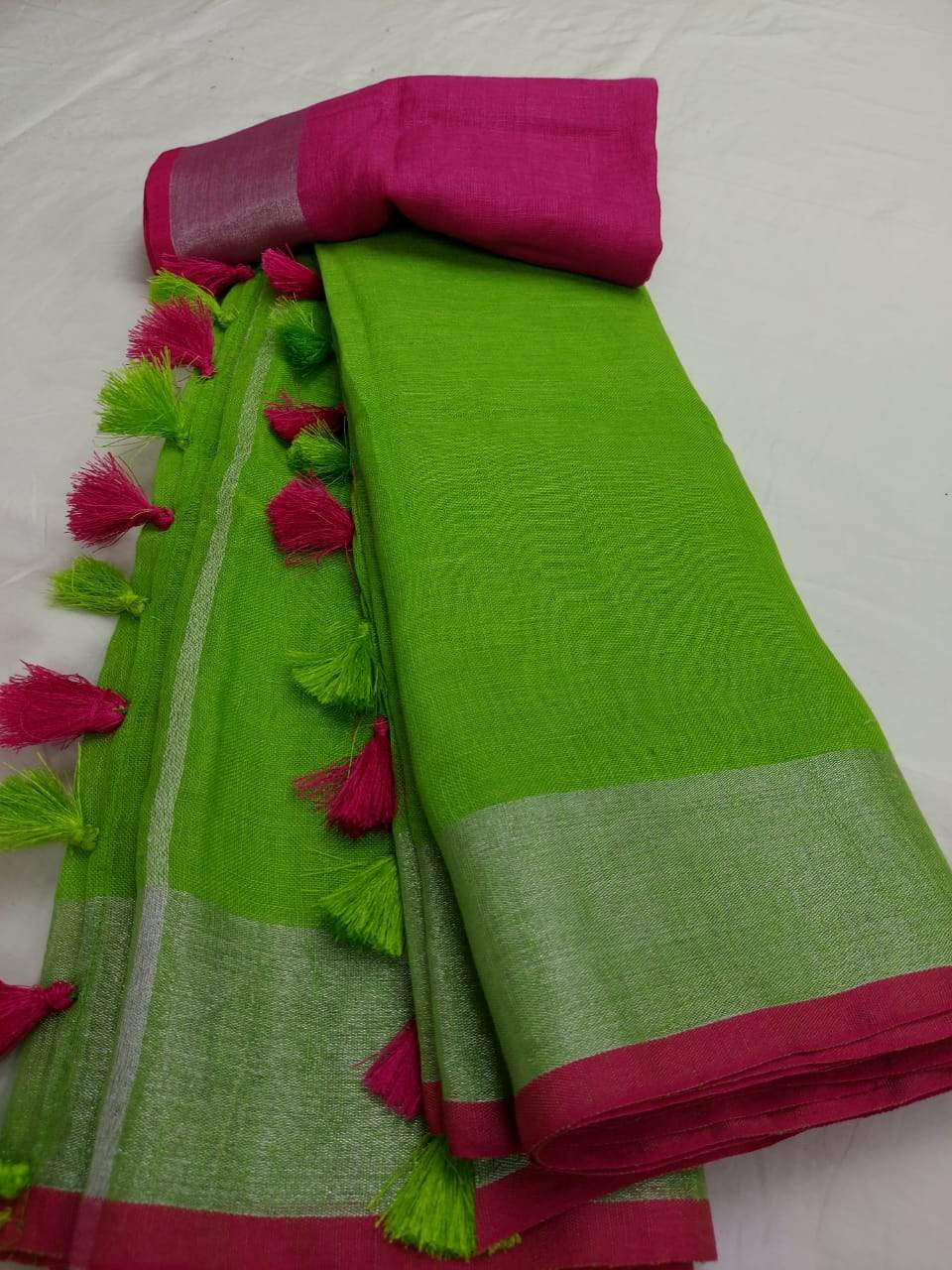 Pure Linen Saree Green and Pink,authentic linen saree, digital printed linen saree, line sarees online