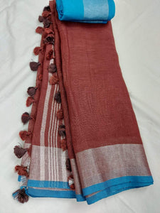 Pure Linen Saree In Brown Color,Best rates of line sarees in india, wholesale linen sarees online