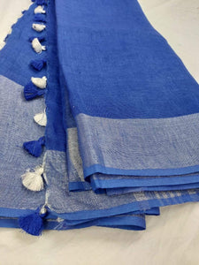 Pure Linen Saree In Ink Blue Color,authentic linen saree, digital printed linen saree, line sarees online