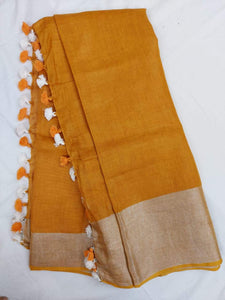 Pure Linen Saree In Rust Color,floral linen sarees, line sarees online, digital printed linen sarees
