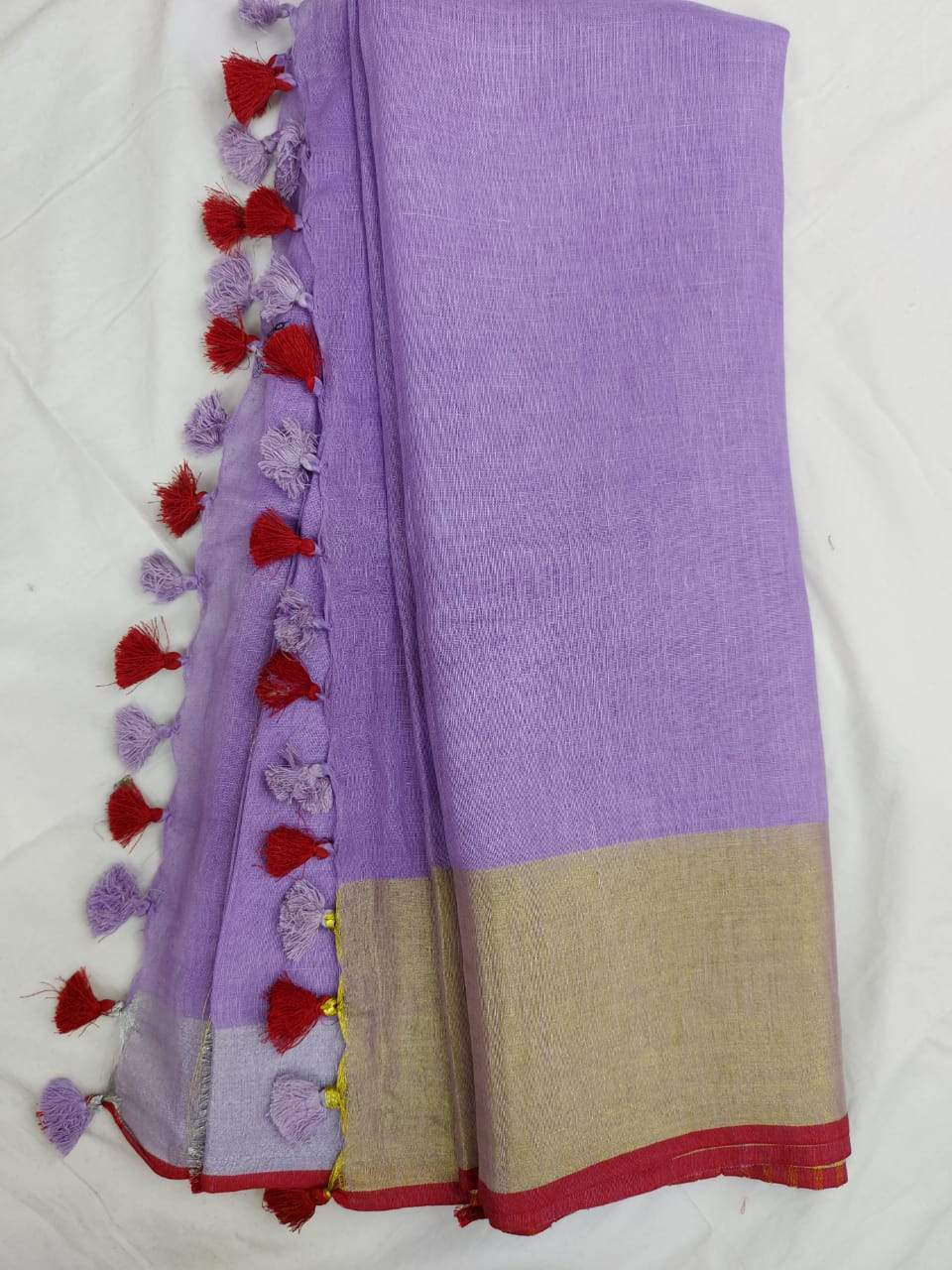 Pure Linen Saree Purple With Border,authentic linen saree, digital printed linen saree, line sarees online