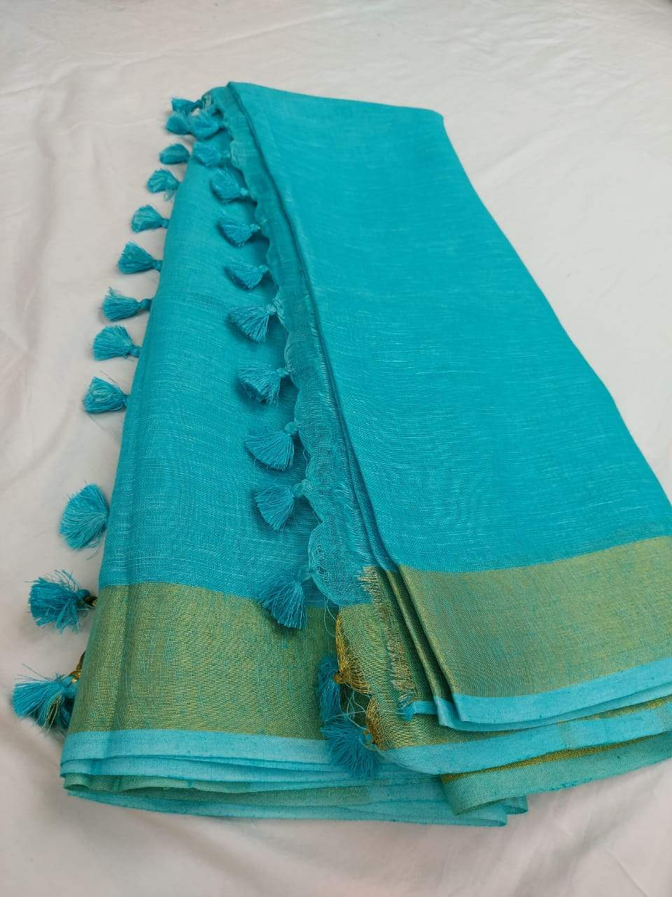 Pure Linen Saree Sky Blue,Best rates of line sarees in india, wholesale linen sarees online