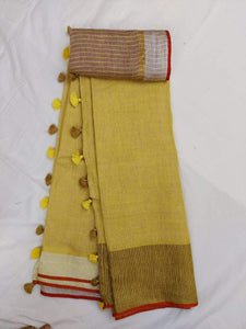 Pure Linen Saree Yellow With Border,authentic linen saree, digital printed linen saree, line sarees online