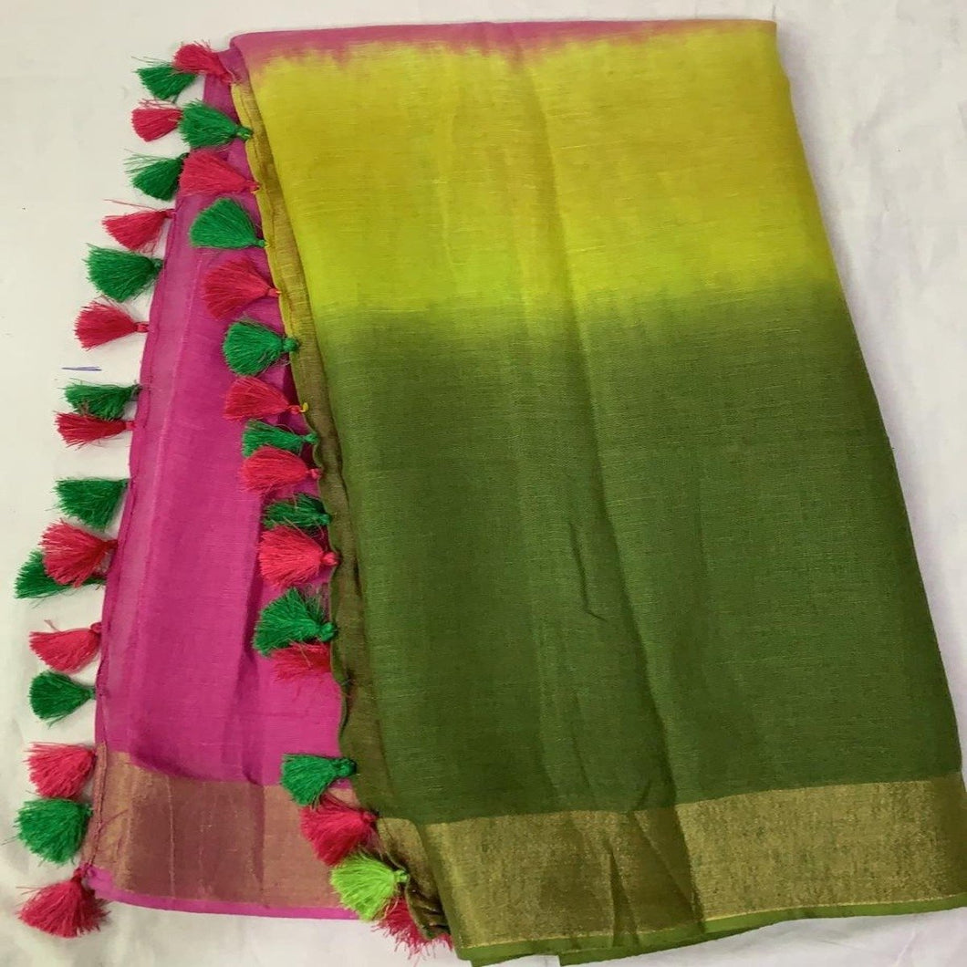 Pure Linen Shaded Saree in Green And Pink ,linen sarees with price, linen sarees buy online