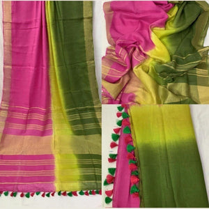 Pure Linen Shaded Saree in Green And Pink