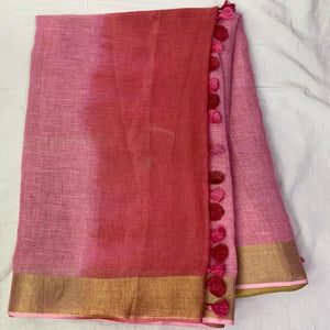 Pure Linen Shaded Saree in Pink ,Pure Linen sarees, Linen Sarees With Border