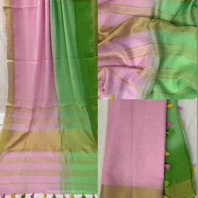 Pure Linen Shaded Saree in Pink And Green ,linen sarees, linen sarees online,  linen sarees price