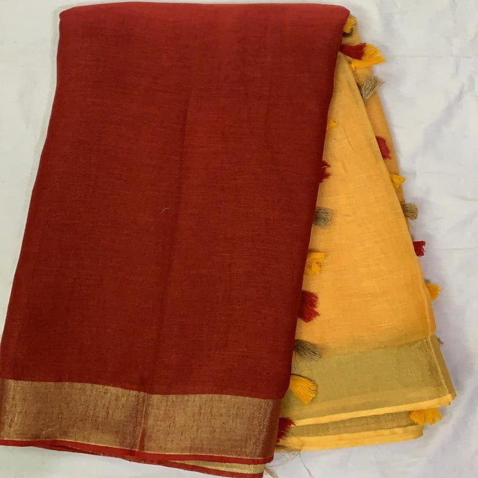 Pure Linen Shaded Saree in Red And Yellow ,linen sarees, linen sarees online,  linen sarees price