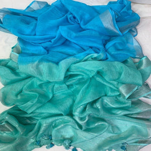 Pure Linen Shaded Saree in Seagreen And Blue ,linen sarees with price, linen sarees buy online