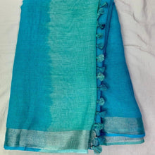 Load image into Gallery viewer, Pure Linen Shaded Saree in Seagreen And Blue