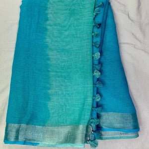 Pure Linen Shaded Saree in Seagreen And Blue
