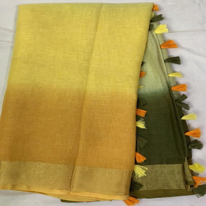 Pure Linen Shaded Saree in Yellow And Green ,linen sarees, linen sarees online,  linen sarees price