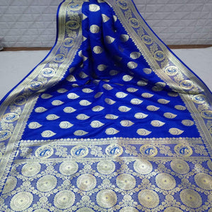 Pure Satin Silk Banarasi Saree In Blue, Pure  Banarasi Saree,Satin Silk Saree