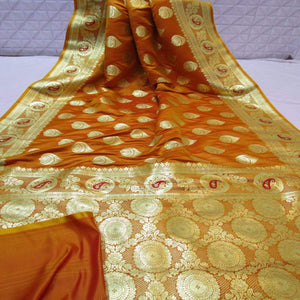 Pure Satin Silk Banarasi Saree In Dark Yellow, Satin Silk Sarees Online, Pure Satin Saree