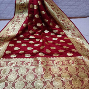 Pure Satin Silk Banarasi Saree In Mahroon, Sarees For Wedding Online, Banarasi Sarees