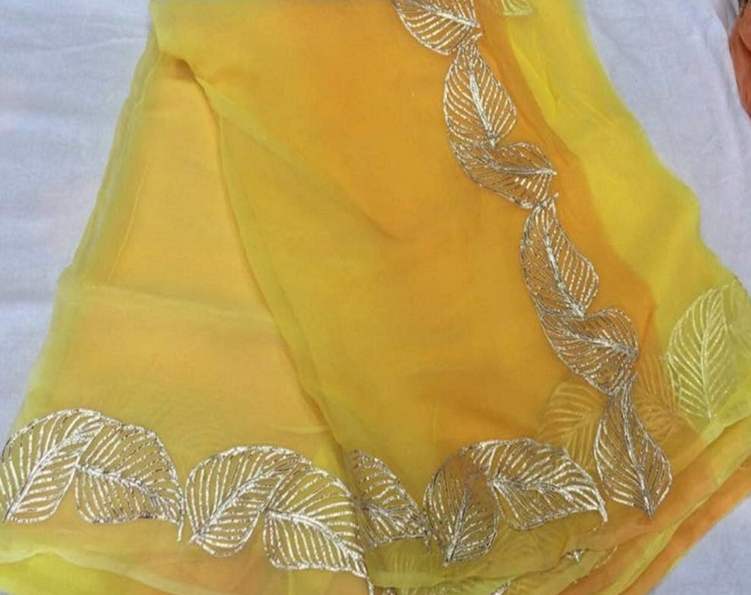 Rajputi Chiffon Saree, Yellow Gota Patti Pure Chiffon Saree