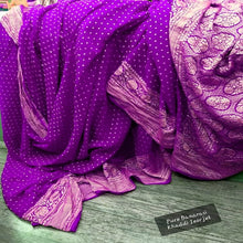 Load image into Gallery viewer, Purple Banarasi khaddi chiffon saree, Pure khaddi Banarasi saree, Khaddi Banarasi saree