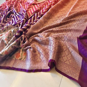 Banarasi khaddi saree with meenakari work in purple and pink