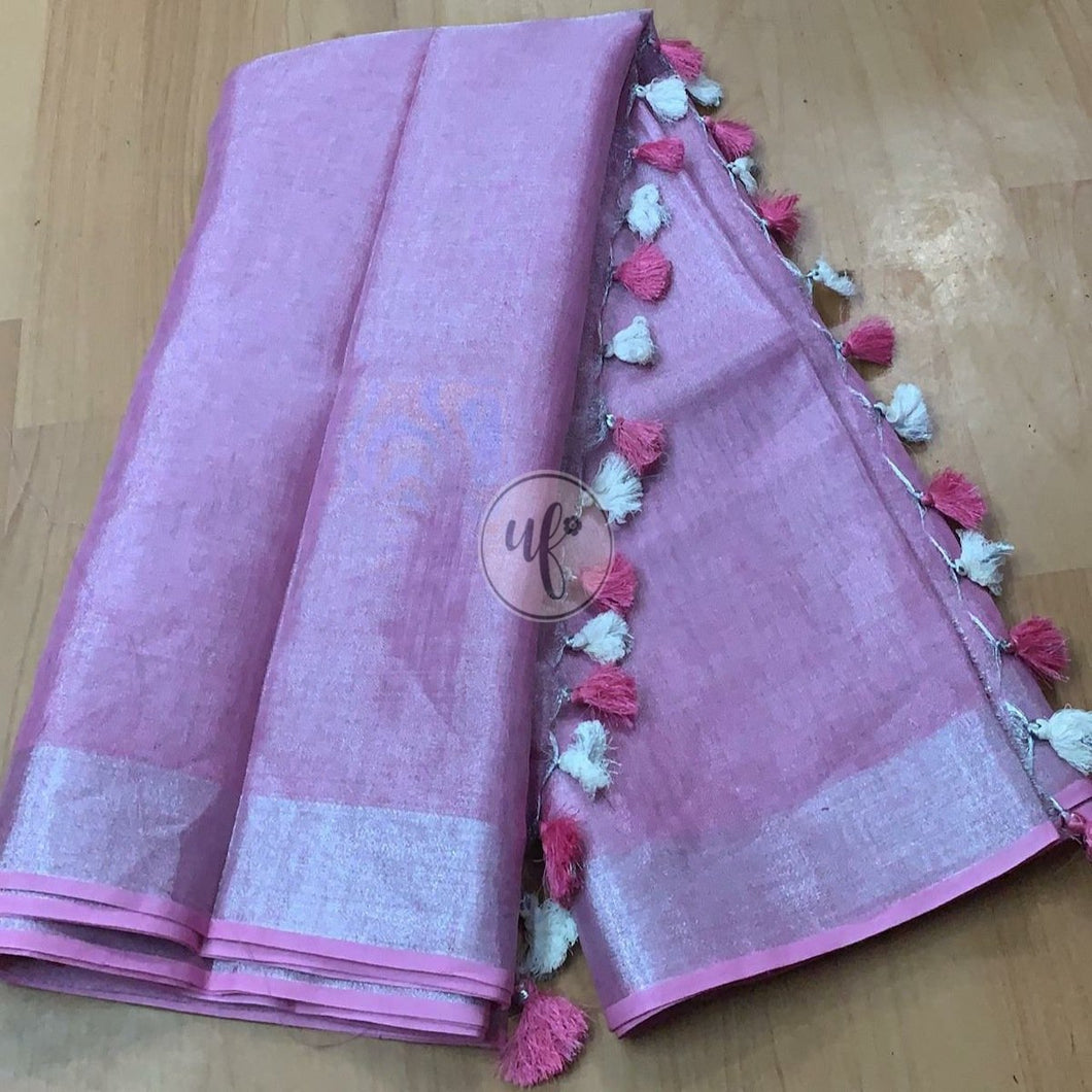Buy Purple Linen Tissue Saree