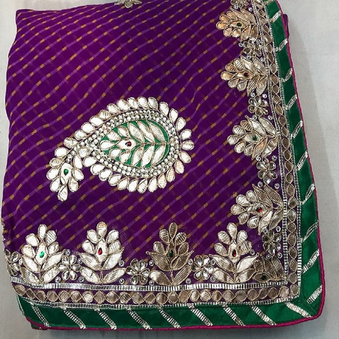 Purple Mothra gota patti work saree,jaipuriya saree, jaipuri leheriya saree,
