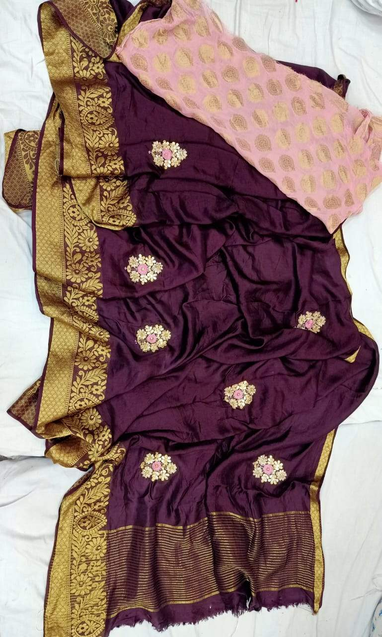 Purple Pure Dola Silk Gota Handwork Saree, This Gorgeous Dola Silk Handwork Saree Comes With Silk Saree Comes With Traditional Border And Boota, Also Comes With Contrast Banarasi Boota Blouce.Shop Authentic Silk Sarees Online At Best Price With Free Shipping And Cod Services.