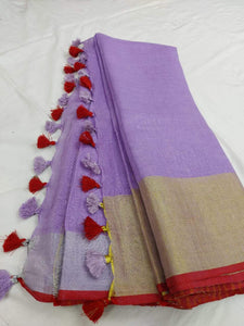 Purple Pure Linen Saree With Golden Border,authentic linen saree, digital printed linen saree, line sarees online