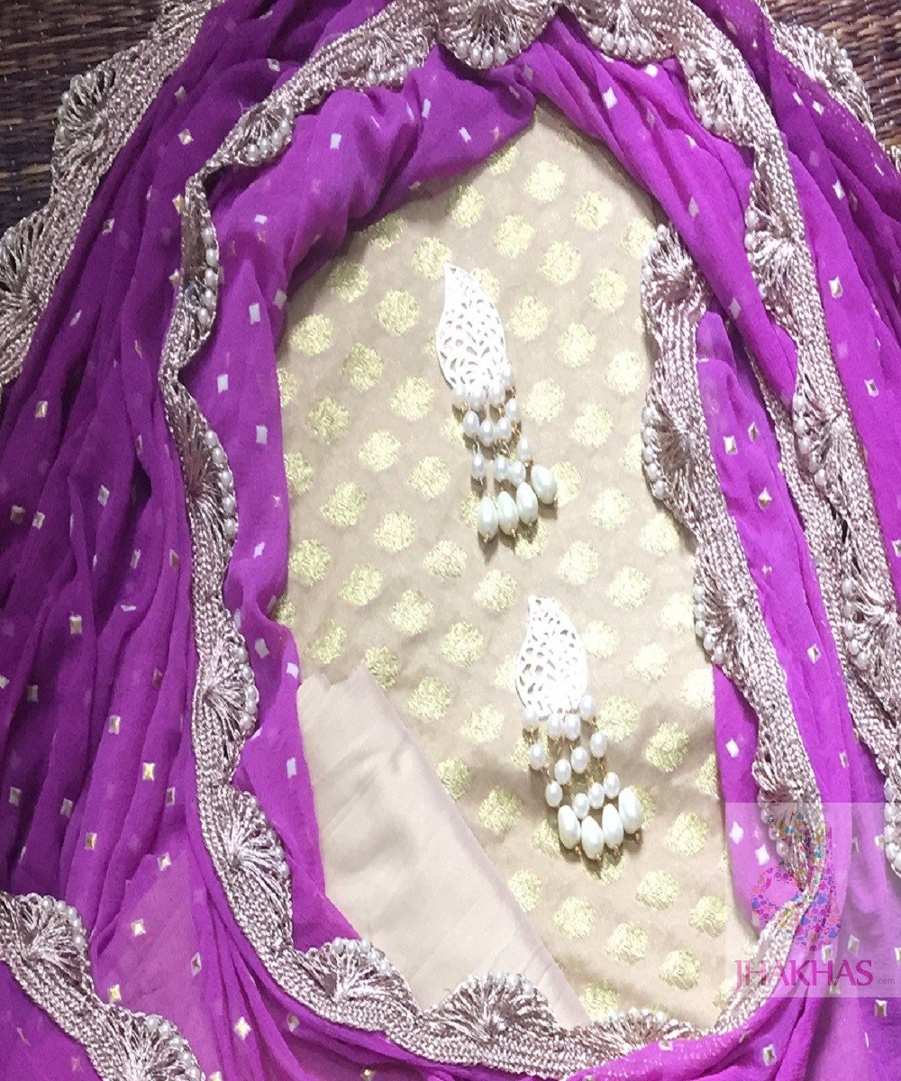 Purple Desiger Dupatta With Chanderi Silk Top
