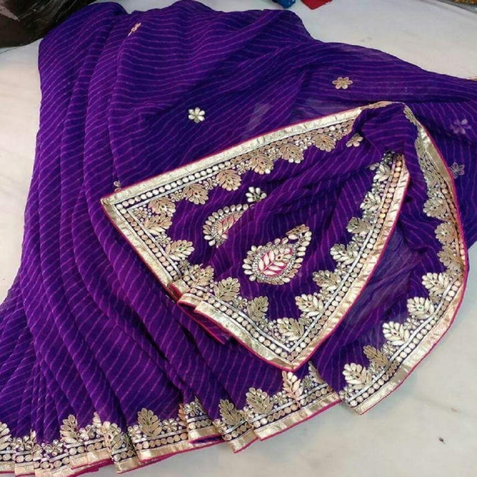 Purple laharia gota patti work saree, gota patti work saree online,