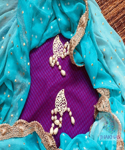 Purple Top With Designer Blue Dupatta