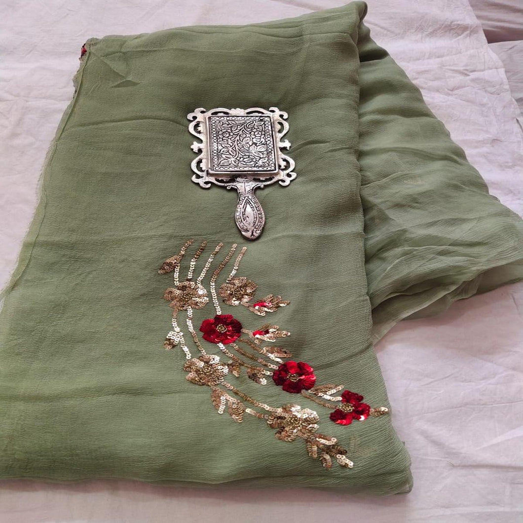 Rajputi Chiffon Handwork Saree in Green ,Chiffon Work sarees,Shaded Sarees, Chiffon Sarees